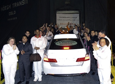 1 MILLIONTH HONDA AUTO EXPORT DEPARTS CALIFORNIA PORT, BOUND FOR SOUTH KOREA