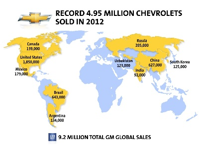 Chevrolet Expands Global Reach with Record 2012 Sales