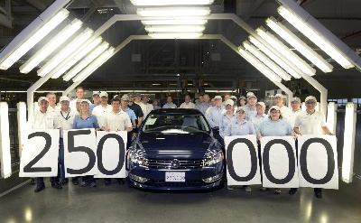 Volkswagen Chattanooga Builds 250,000Th Passat Sedan