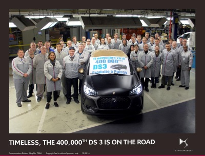 TIMELESS, THE 400,000TH DS 3 IS ON THE ROAD