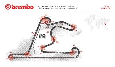BREMBO CIRCUIT IDENTITY CARDS FOR 2014 FORMULA ONE AT UBS CHINESE GRAND PRIX