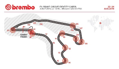 BREMBO CIRCUIT IDENTITY CARDS FOR 2014 FORMULA ONE AT BELGIUM GRAND PRIX