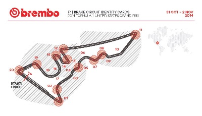 BREMBO CIRCUIT IDENTITY CARDS FOR 2014 UNITED STATES FORMULA ONE GRAND PRIX AT COTA