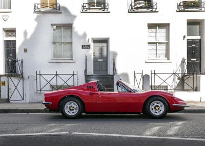 1973 FERRARI DINO OWNED BY LED ZEPPELIN'S MANAGER VISITS BAND'S OLD RECORD LABEL LOCATION BEFORE GOING UNDER THE HAMMER
