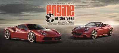 FERRARI'S TURBO-CHARGED V8 IS THE OVERALL WINNER OF THE INTERNATIONAL ENGINE OF THE YEAR