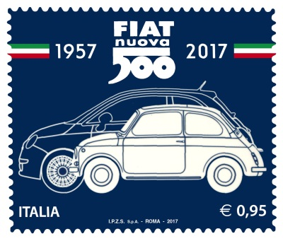 Commemorative Stamp Of The Fiat 500 Presented Today In Turin