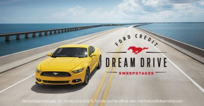 TWO WINNERS. FOUR DAYS. SIX LEGENDARY ROADS. FORD MUSTANG. THE FORD CREDIT DREAM DRIVE SWEEPSTAKES IS ON