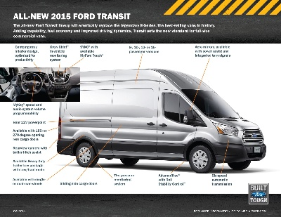 ALL-NEW FORD TRANSIT: BETTER GAS MILEAGE THAN E-SERIES; BEST-IN-CLASS GAS ENGINE TORQUE, CARGO CAPACITY