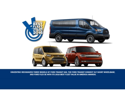 FORD TRANSIT, TRANSIT CONNECT, FLEX WIN VINCENTRIC BEST FLEET VALUE IN AMERICA AWARDS