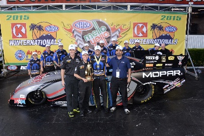 HAGAN DRIVES ALL-NEW 2015 DODGE CHARGER R/T FUNNY CAR TO DEBUT WIN IN ALL-MOPAR NHRA WINTERNATIONALS FINAL ROUND