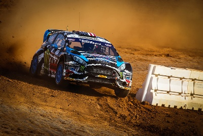 KEN BLOCK PILOTS HIS FORD FIESTA ST TO A RED BULL GLOBAL RALLYCROSS VICTORY IN CHARLOTTE