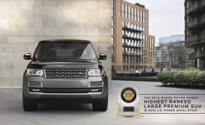 LAND ROVER RANGE ROVER NAMED HIGHEST RANKED LARGE PREMIUM SUV IN 2016 J.D. POWERS APEAL STUDY