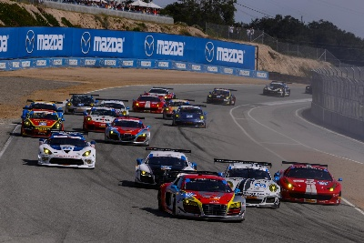 Paul Miller Racing Audi R8 LMS on podium at Laguna Seca and heartbreaking finish for Flying Lizard