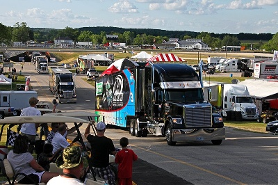 LOCAL RESIDENTS WELCOME NASCAR NATIONWIDE SERIES TEAM HAULERS TO ROAD AMERICA