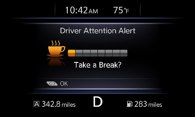 NISSAN'S 'DRIVER ATTENTION ALERT' HELPS DETECT ERRATIC DRIVING CAUSED BY DROWSINESS AND INATTENTION