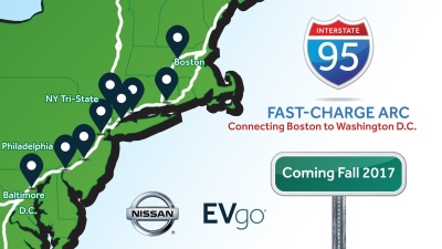 Nissan Partners With EVGO To Build I-95 Fast-Charge ARC Connecting Boston And D.C. With Electric-Vehicle Infrastructure
