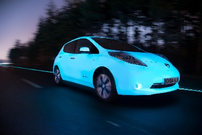 A BRIGHT FUTURE: NISSAN LEAF IS THE FIRST GLOW-IN-THE-DARK CAR TO DRIVE THE GLOWING HIGHWAY IN THE NETHERLANDS