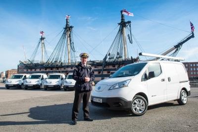 Nissan Electric Vans 'Dock' At Portsmouth Naval Base