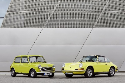 Forever Young: The Classic Mini Congratulates The Porsche 911 On Its 50Th Birthday.