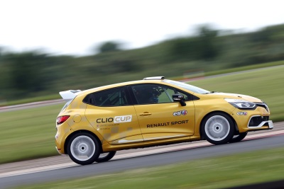 ALL SMILES FOR RENAULT SPORT FORMULA ONE TEAM'S JOLYON PALMER AFTER FIRST RUN IN RENAULT UK CLIO CUP RACE CAR