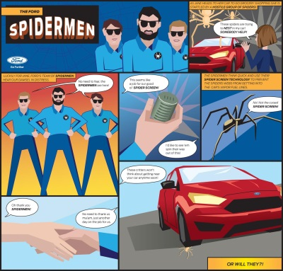 LOOK OUT! HERE COME THE SPIDERMEN: FORD ENGINEERS USE ARACHNID LEARNINGS TO DEVELOP INNOVATIVE SCREEN...