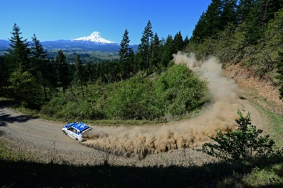 SUBARU DRIVER DAVID HIGGINS WINS THE OREGON TRAIL RALLY FOR THE THIRD STRAIGHT YEAR