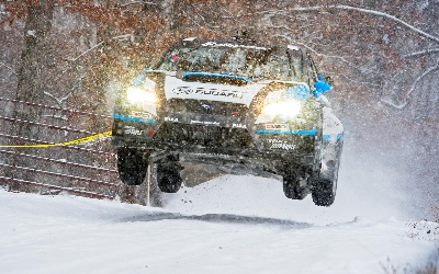 SUBARU DRIVER DAVID HIGGINS OVERCOMES TREACHEROUS CONDITIONS TO WIN THE 2015 RALLY OF THE 100 ACRE WOOD