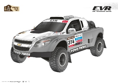 ERIC VIGOUROUX AND 'BALLISTIC' BJ BALDWIN WITH NEW EVR PROTO VX-101 RALLY RAID CONCEPT IN LE DAKAR 2014