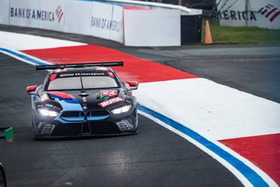 BMW Team RLL Scores Double Podium Finish At A Wet Motul 100% Synthetic Grand Prix; Bill Auberlen Serves Up IMSA Win No. 62