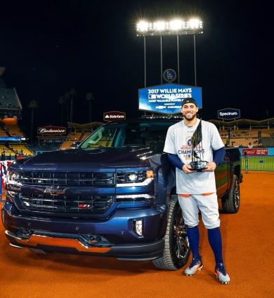 Chevrolet Presents Silverado Centennial Edition Pickup To Willie Mays World Series Mvp George Springer