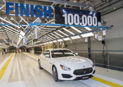 MASERATI: CAR NUMBER 100,000 LEAVES THE AVV. GIOVANNI AGNELLI PLANT AT GRUGLIASCO