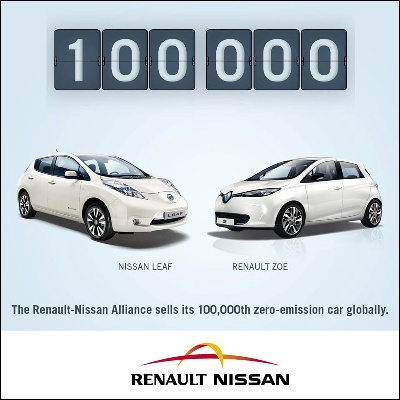 Renault-Nissan Alliance Sells Its 100,000Th Zero-Emission Car