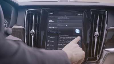 VOLVO CARS ADDS MICROSOFT'S SKYPE FOR BUSINESS TO ITS 90 SERIES CARS, HERALDING A NEW ERA FOR IN-CAR PRODUCTIVITY