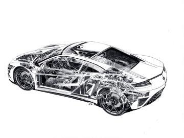 Acura NSX Cutaway Sketch By Legendary Artist Shin Yoshikawa